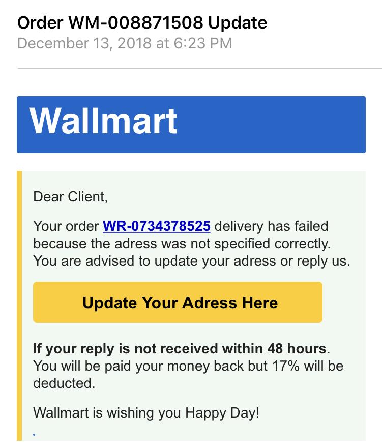 Phishing Scam Example 1